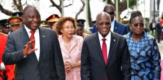 President Ramaphosa and his Tanzanian counterpart President Magufuli in Dar es Salaam.