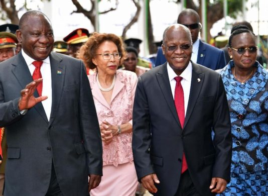President Ramaphosa and his Tanzanian counterpart President Magufuli in Dar es Salaam.